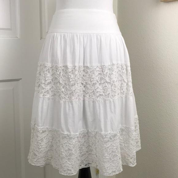 76c170c4e Skirts   Tiered Lace Cotton Skirt Elastic Waist Lined M   Poshmark